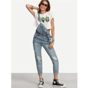SHEIN Ripped Blue Light wash Denim Overall jeans